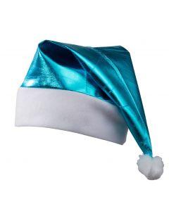 Glanzende kerstmuts turquoise